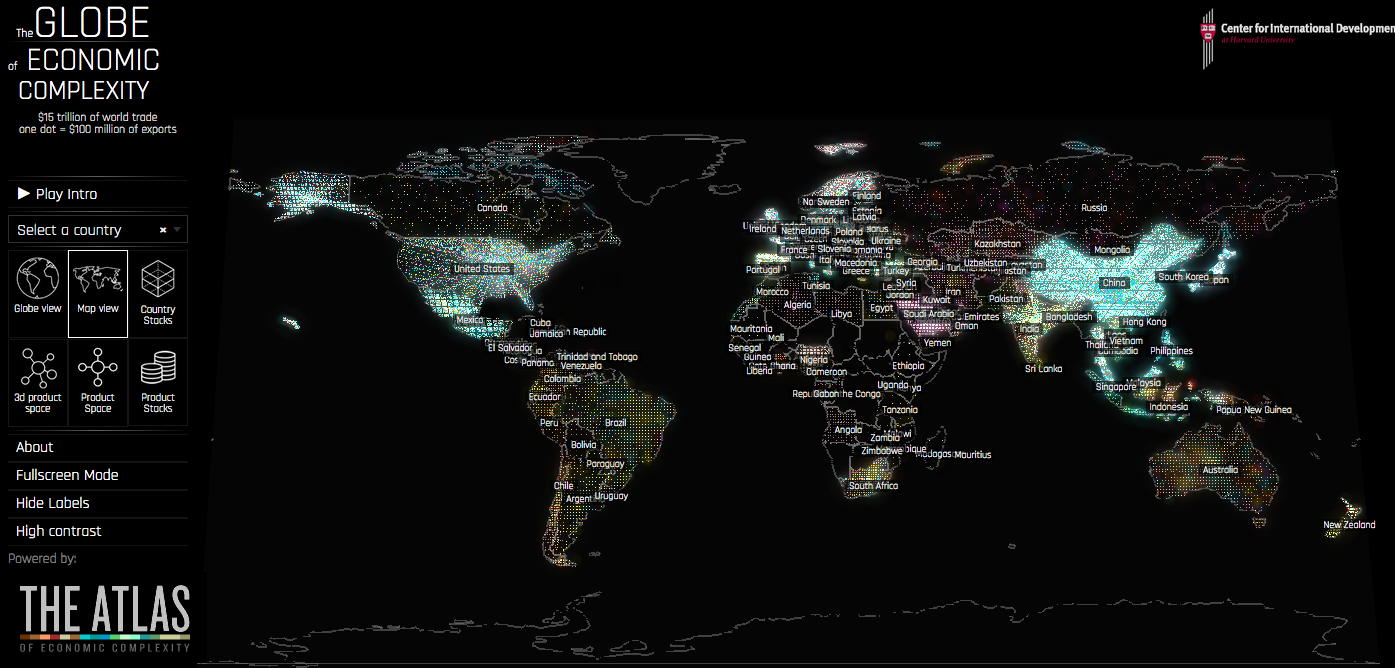 The Globe of Economic Complexity Provided by the Center for International Development at Harvard University