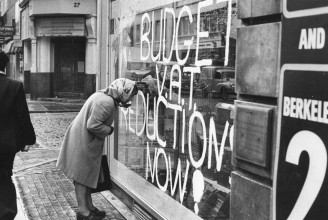 A British shop window during the IMF crisis of 1976