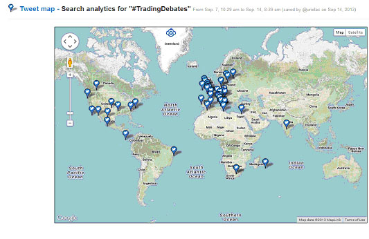 Locations for the hashtag #TradingDebates from Twitonomy