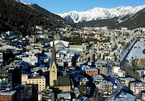 Aerial Photo of Davos - the host Alpine City of the World Economic Forum Annual Meetings