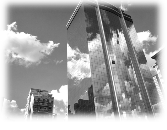 greyscale skyscrapers