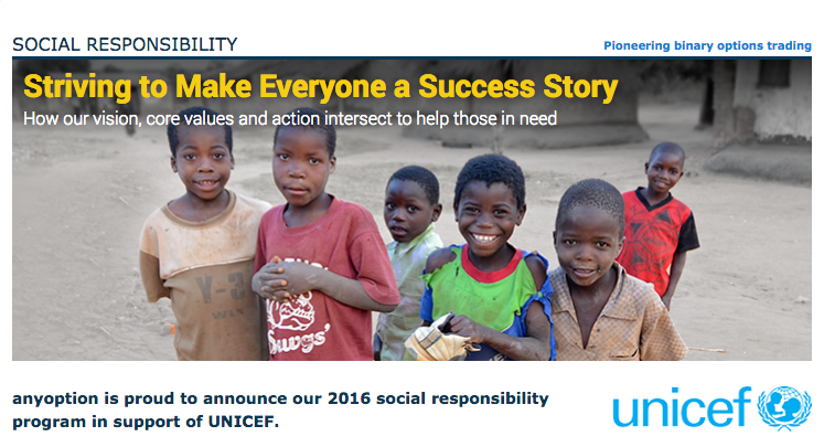 anyoption is proud to announce our 2016 social responsibility program in support of UNICEF